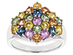 Multi-Sapphire Sterling Silver Ring 2.93ctw.