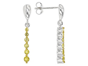 Yellow Tourmaline Sterling Silver Dangle Earrings .52ctw