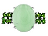 Green Opal Rhodium Over Sterling Silver Ring .56ctw