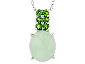 Green Opal Sterling Silver Pendant With Chain .42ctw