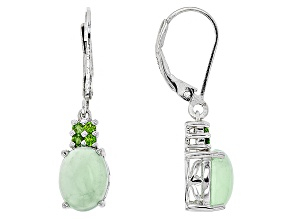 Green Opal Sterling Silver Earrings .10ctw