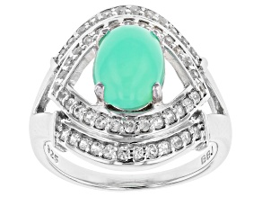 Green opal rhodium over sterling silver ring .40ctw