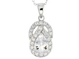 White Goshenite Sterling Silver Pendant With Chain 3.39ctw