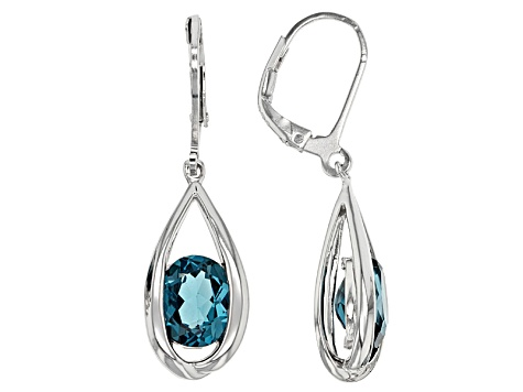 London Blue Topaz Rhodium Over Sterling Silver Dangle Earrings 3.91ctw