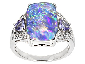Multicolor Australian Opal Triplet Rhodium Over Sterling Silver Ring .66ctw