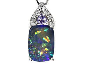 Multicolor Australian Opal Triplet Rhodium Over Sterling Silver Slide With Chain .30ctw