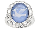 Blue Onyx Bird Cameo Sterling Silver Ring