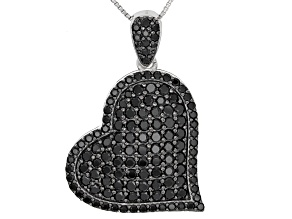 Black Spinel Sterling Silver Pendant With Chain 3.74ctw