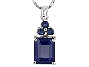 Blue Sapphire Silver Pendant With Chain 2.92ctw