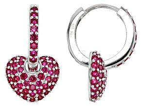 Red Lab Created Ruby Silver Hoop Earrings 2.49ctw