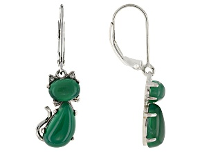 Green Onyx Sterling Silver Cat Earrings .02ctw