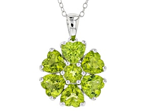 Green Peridot Silver Pendant With Chain 5.74ctw