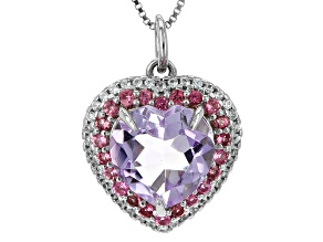 Lavender Amethyst Sterling Silver Heart Pendant With Chain 3.10ctw