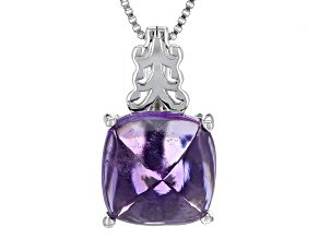 Purple Amethyst Silver Pendant With Chain 4.40ct