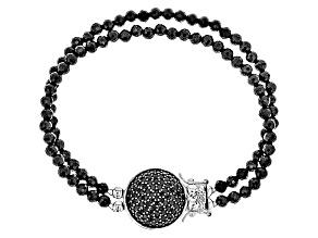 Black Spinel Double Strand Sterling Silver Bracelet 42.14ctw.