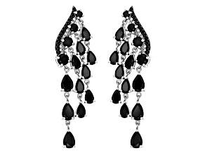 Black Spinel Sterling Silver Dangle Earrings 7.92ctw