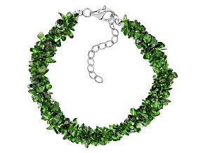 Green Chrome Diopside Sterling Silver Torsade Bracelet