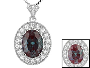 Blue Lab Created Alexandrite Sterling Silver Pendant With Chain 2.19ctw