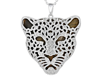Picture of Brown Tigers Eye Leopard Face Pendant With Chain .93ctw