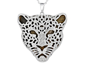 Brown Tigers Eye Leopard Face Pendant With Chain .93ctw