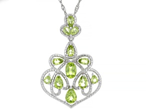 Green Peridot Rhodium Over Sterling Silver Pendant With Chain 3.37ctw
