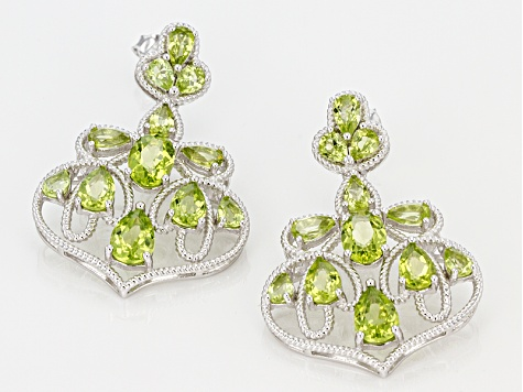 Green Peridot Sterling Silver Earrings 6.97ctw