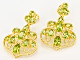 Green peridot 18k yellow gold over silver earrings 6.95ctw