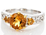 Orange Citrine Sterling Silver Ring 1.70ctw