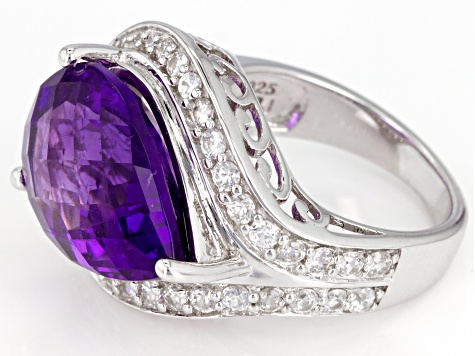 Purple African Amethyst And White Zircon Sterling Silver Ring 11.14ctw