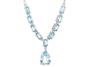 Sku Blue Topaz Sterling Silver Necklace 3.66ctw