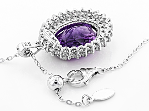 Purple Amethyst Sterling Silver Enhancer With Chain 8.69ctw