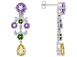 Purple Amethyst Sterling Silver Earrings 5.75ctw