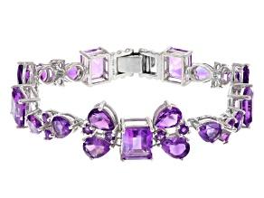 Purple Amethyst Sterling Silver Bracelet 34.65ctw