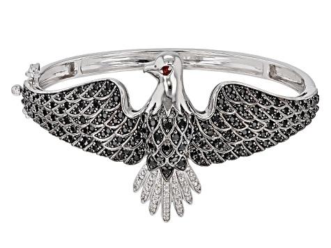 3c763eee56f Black Spinel Sterling Silver Eagle Bangle Bracelet 3.75ctw. - MMH616 ...