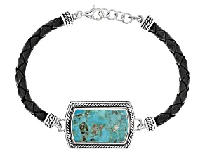 Blue Turquoise Sterling Silver And Leather Bracelet
