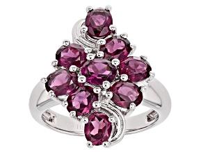 Purple Rhodolite Sterling Silver Ring 3.87ctw