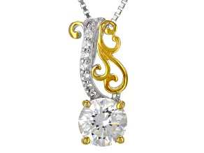 White Fabulite Strontium Titanate And White zircon 18k Gold Over Silver Two-Tone Pendant 1.81ctw