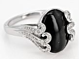 Black Cats Eye Sillimanite Sterling Silver Ring .16ctw