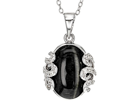 Black Cat's Eye Sillimanite Silver Pendant With Chain  .11ctw