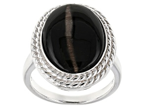 Black Sillimanite Sterling Silver Solitaire Ring