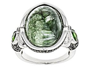 Green Seraphinite Sterling Silver ring 1.52ctw
