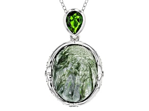 Green Seraphinite Sterling Silver Pendant With Chain 9.18ctw