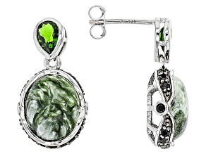 Green Seraphinite Sterling Silver Earrings 1.25ctw