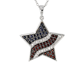 Blue Sapphire Silver Star Pendant With Chain 1.26ctw