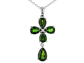 Green Chrome Diopside Silver Pendant With Chain 4.01ctw