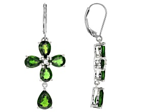 Green Chrome Diopside Silver Earrings 8.00ctw