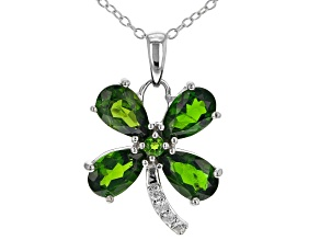 Green Chrome Diopside Rhodium Over Sterling Silver Pendant With Chain 3.20ctw