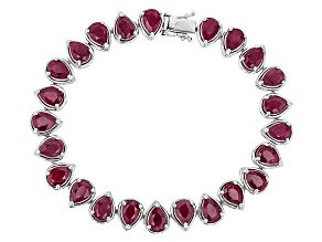 Red Ruby Silver Bracelet 21.00ctw