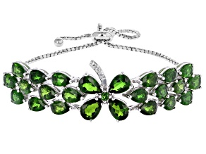 Green Chrome Diopside Sterling Silver Bolo Bracelet 10.15ctw