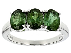 Green Tourmaline Sterling Silver Ring 2.01ctw